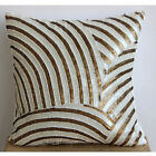 """ivory Sequins & Beaded 14""""x14"""" Silk Pillow Covers - Gold Glamorous"""