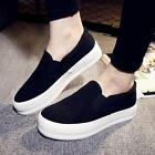 Womens Platform Hidden Wedge Trainer Slip On Skateboard Sneaker Sport Shoes Size