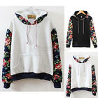 Women Casual Hooded Floral Long Sleeve Hoodie Fashion Sweater Pullover Coat Tops