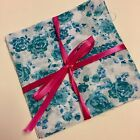 Teal RoseFlowers poly cotton 10 patchwork Quilting Crafting squares 12x12cm