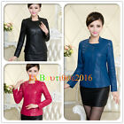 New Spring Women's leather leather round collor coat leather jacket coat