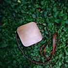 FANJI Original Wooden Handmade Rounded Messenger Bag Handbag Shoulder Bag Brown