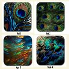 Peacock Feathers Neoprene Base Fabric Top Dining Patio Table Coasters Set X 4 BN