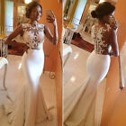 Long Lace White Mermaid Prom Ball Wedding Dresses Evening Party Bridesmaid Dress