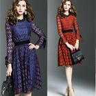 Women Summer Floral Lace Long Sleeve Party Evening Cocktail Short Mini Dress New