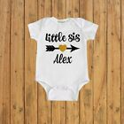 Girls Personalized Little Sister Shirt Pregnancy announcement baby shower gift