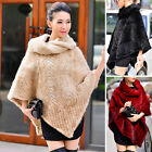 Ladies' 100% Real Farm Knitted Mink Fur Poncho Cape Coat Stole 2017 Design