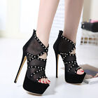 Womens Gladiator Platform Open Toe Lace High Heels Stiletto Sandals Party Shoes