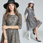 Elegant Womens Autumn 3/4 Sleeve Lace embroidery Beaded Prom Cocktail Mid Dress