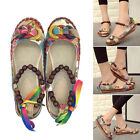Vintage Flats Colorful Loafers Shoes Women Ethnic Lace Up Beading Round Toe Shoe
