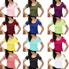 Women Bodycon Short Sleeve Cotton Casual Blouse Shirt Tops Summer T-shirt New