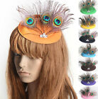 Lady Hair Clip Peacock Feather Top Hat Rhinestone Fascinator Burlesque 12colors