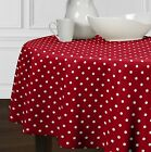 """New Red & White Modern Polka Dot Dining Room Round Kitchen Tablecloths 72"""""""