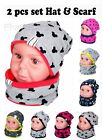 Baby Kid Girl Boy Hat With Tube Scarf Spring Cotton Reverse 2pcs Set 1-3-10 Year
