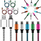 Braided Aluminum Micro USB Data & Sync Charger Cable Cord For Mobile Cell Phones