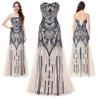 PLUS SIZE WOMEN Long Peacock Masquerade Ball Gown Party Evening Prom Dress MAXI