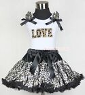 Black Leopard Pettiskirt Leopard LOVE Print Ruffle Bow White Tank Top 1-8Year