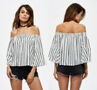 New Women Fashion Off Shoulder Casual Party Blouse Tops Cotton Striped T-Shirt
