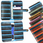 Vintage Stripes PU Leather Wallet Case Cover Sleeve Holder Fits Unusual Phones