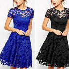 New Women Female Fashion Slim Lace Round Neck Short Sleeve Dress Princess Dress