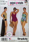 SIMPLICITY PATTERN SWIMSUITS 3 STYLES & WRAP SKIRT SIZES 10-18 or 20W-28W # 1116