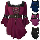 Women Fashion Flared Sleeve Lace-up T-Shirt Victorian Gothic Punk Tee Top Blouse