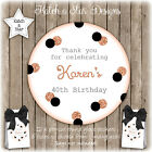 BLACK & ROSE GOLD LGE DOTS PARTY PERSONALISED ROUND CIRCLE GLOSS STICKERS X12