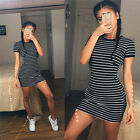 New Women Casual Dresses Crew Neck Short Sleeve Striped Loose T-Shirt Mini Dress