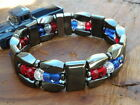 Men's Woman's Magnetic Red White n Blue Hematite Bracelet Anklet Necklace 3 row