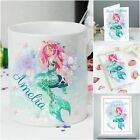 Personalised Mermaid Gifts for Girls Birthday Mug Chocolate Card Poster Party