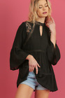 Umgee Black Gypsy Choker Top with Lace Back