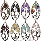 Natural Gemstone Amethyst Quartz Crystal Tree of Life Pendant Necklace