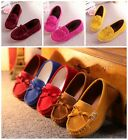 Kids Childrens Boys Girls Casual Shoes Bow Leather Cotton Soft Moccasin