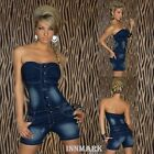 196 CRASHED STRETCH BUTTON DESTROYED JEANS OVERALL JUMPSUIT BLUE WASHED UK 8 -12