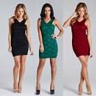 LADIES ELEGANT BODYCON LACE FLORAL DRESS SLEEVELESS SIZES 8-14 BLACK RED GREEN
