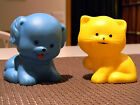 Vintage 1979 The First Years Baby Squeak Squeeze Toys Blue Dog and Yellow Cat