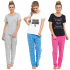 Ladies Cotton Short Sleeved Slogan Pyjama Set
