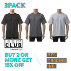 3 PACK PROCLUB PRO CLUB MENS PLAIN T SHIRT HEAVYWEIGHT SHORT SLEEVE COTTON TEE image