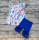 Girls Feather Flutter Pearl Top Blue Icing Ruffle Shorts Boutique Outfit 12M-6