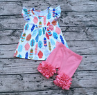 Girls Feather Flutter Pearl Top Pink Icing Ruffle Shorts Boutique Outfit 12M-6