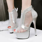 New  Womens Mesh Open Toe Platform High Heels  Zip Up  Ankle Boots Sandals Shoes