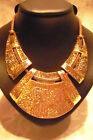 """NECKLACE VINTAGE STYLE JEWELLERY, GOLD METAL & BROWN CORD, HAMMERED PLATES 20"""""""