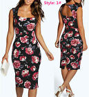 UK Vintage Womens Floral Print Pencil Slim Bodycon Ladies Casual Paty Dress 6-20