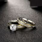 2PCs Fashion Women Jewelry Dull Silver Gold Plated Rings Set Gift US SIZE 8-9