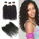 360 Lace Band Frontal Curly Closure w/ Brazilian Curly Human Hair 3 Bundles/300g
