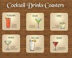 COCKTAILS DRINKS MDF COASTER MARGARITA DAIQUIRI MANHATTEN MOJITO BAR GIFT