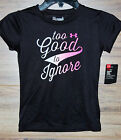 Under Armour Girls Size 5 6 Heat Gear Black Too Good to Ignore T Shirt NEW NWT