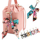 BAG ACCESSORIES SILKY SCARF MULTI COLORFUL PRINT RIBBON KNOT KEY FOB CHARM