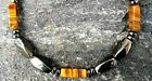 Men's Brown Tiger Eye Magnetic Hematite Necklace THERAPY Free Shipping STRONG!