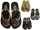 Silver Black Gold Leopard Flower Floral Rhinestone Flip Flops Thongs Sandals